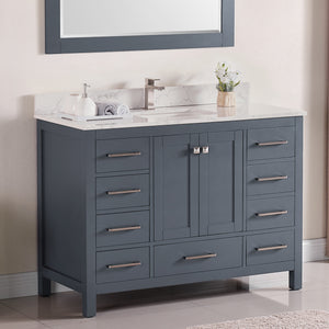 "1901-48-02QZ Dark Grey 48"" Bathroom Vanity Cabinet and Sink Combo Solid Wood Cabinet+Quartz Top+ Quartz  backsplash w/Sink set"