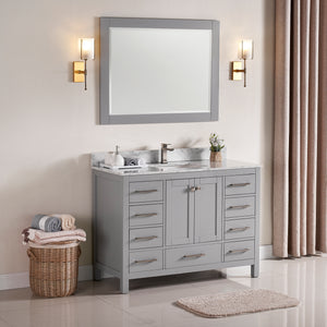 "1901-48-03 Light Grey 48"" Bathroom Vanity Cabinet and Sink Combo Solid Wood Cabinet+Real Marble Top+ Marble backsplash w/Sink set"