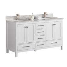 "1901-60D-01QZ Matt White 60"" Bathroom Vanity Cabinet and double Side 2 Sinks Combo Solid Wood Cabinet+Quartz top and backsplash w/Sink set"