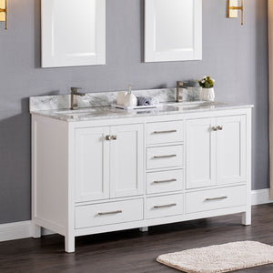 "1901-60D-01 Matt White 60"" Bathroom Vanity Cabinet and double Side 2 Sinks Combo Solid Wood Cabinet+Real Marble Top+ Marble backsplash w/Sink set"