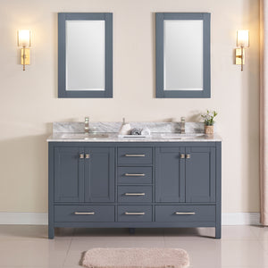 "1901-60D-02 Dark Grey 60"" Bathroom Vanity Cabinet and double Side 2 Sinks Combo Solid Wood Cabinet+Real Marble Top+ Marble backsplash w/Sink set"