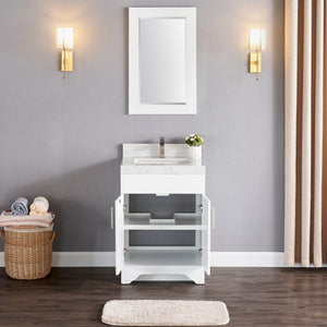 "1905-24-01 Matt White 24"" Bathroom Vanity Set Solid Wood Vanity Cabinet with Natural White Carrara Quartz Counter Top and White Under Mount Basin Set with Optional Mirror"