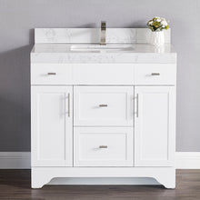 "1905-36-01 Matt White 36"" Bathroom Vanity Set Solid Wood Cabinet and under mount sink with White Carrara Quartz Counter Top and backsplash with optional mirror"