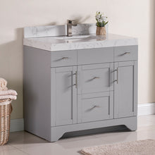 "1905-36-03 Light Grey 36"" Bathroom Vanity Set Solid Wood Cabinet with under mount Sink and Quartz Top with 4"" backsplash and optional Mirror"