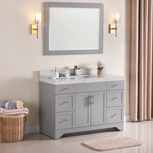"1905-48-03 Light Grey 48"" Bathroom Vanity Set Solid Wood Cabinet with Natural White Carrara Quartz Counter Top and under mount sink included with optional Mirror"