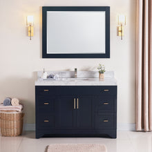"1905-48-04 Marine Blue 48"" Bathroom Vanity Set Solid Wood Cabinet with Natural White Carrara Quartz Counter Top and under mount sink included with optional Mirror"