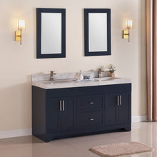 "1905-60D-04 Marine Blue 60"" Bathroom Vanity Set Solid Wood Cabinet and Double Side 2 Sinks with Quartz Counter Top and Backsplash Optional Mirror"