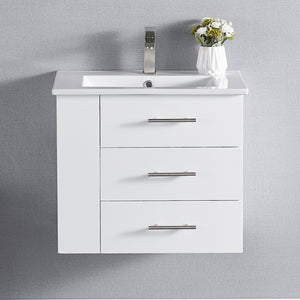 "1906-24L-01 Wall Mount Matt White 24"" Bathroom Vanity Set with Left Side Shelf Include Solid Wood Vanity Cabinet, Pure white counter top and sink with optional mirror"