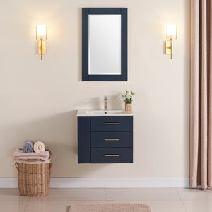 "1906-24L-04 Wall Mount Marine Blue 24"" Bathroom Vanity Set with left side shelf Include Solid Wood Vanity Cabinet, Pure white counter top and sink with optional mirror"