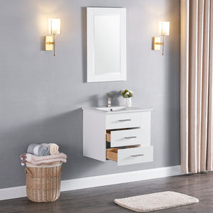 "1906-24R-01 Wall Mount Matt White 24"" Bathroom Vanity Set with Right Side Shelf Include Solid Wood Vanity Cabinet, Pure white counter top and sink with optional mirror"
