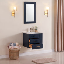 "1906-24R-04 Wall Mount Marine Blue 24"" Bathroom Vanity Set with right side open shelf Include Solid Wood Vanity Cabinet, Pure white counter top and sink with optional mirror"