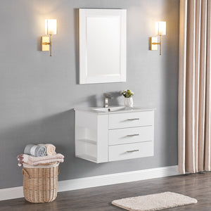 "1906-30L-01 Wall Mount Matt White 30"" Bathroom Vanity Set with Left Side Shelf Include Solid Wood Vanity Cabinet, Pure white counter top and sink with optional mirror"