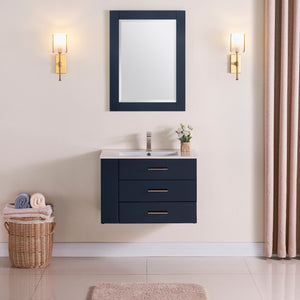 "1906-30L-04 Wall Mount Marine Blue 30"" Bathroom Vanity Set with Left Side Shelf Include Solid Wood Vanity Cabinet, Pure white counter top and sink with optional mirror"