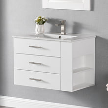 "1906-30R-01 Wall Mount Matt White 30"" Bathroom Vanity Set with Right Side Shelf Include Solid Wood Vanity Cabinet, Pure white counter top and sink with optional mirror"