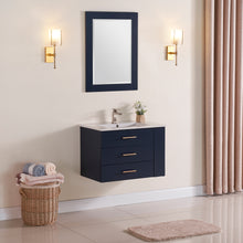 "1906-30R-04 Wall Mount Marine Blue 30"" Bathroom Vanity Set with Right Side Shelf Include Solid Wood Vanity Cabinet, Pure white counter top and sink with optional mirror"