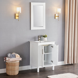 "1907-24-01 Matt White 24"" Bathroom Vanity Cabinet and Sink Combo Solid Wood Cabinet+Ceramic Counter Stop With Sink and optional mirror set"