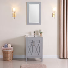 "1907-24-03 Light Grey 24"" Bathroom Vanity Cabinet and Sink Combo Solid Wood Cabinet+Ceramic Counter Stop With Sink and optional mirror set"