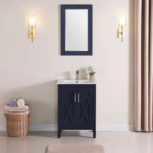 "1907-24-04 Marine Blue 24"" Bathroom Vanity Cabinet and Sink Combo Solid Wood Cabinet+Ceramic Counter Stop With Sink and optional mirror set"