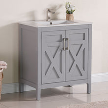 "1907-30-03 Light Grey 30"" Bathroom Vanity Cabinet and Sink Combo Solid Wood Cabinet+Ceramic Counter Stop With Sink and optional mirror set"