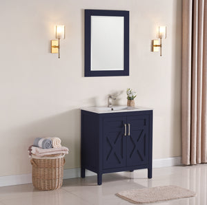 "1907-30-04 Marine Blue 30"" Bathroom Vanity Cabinet and Sink Combo Solid Wood Cabinet+Ceramic Counter Stop With Sink and optional mirror set"