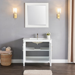 "1907-36-01 Matt White 36"" Bathroom Vanity Cabinet and Sink Combo Solid Wood Cabinet+Ceramic Counter Stop With Sink and optional mirror set"