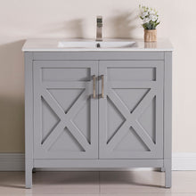"1907-36-03 Light Grey 36"" Bathroom Vanity Cabinet and Sink Combo Solid Wood Cabinet+Ceramic Counter Stop With Sink and optional mirror set"