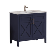 "1907-36-04 Marine Blue 36"" Bathroom Vanity Cabinet and Sink Combo Solid Wood Cabinet+Ceramic Counter Stop With Sink and optional mirror set"