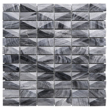 T3DCTG-02 Grey 3D Cut 1x2 Gray Cloud Marble Mosaic Tile