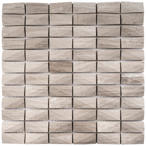 T3DCTG-03 Light Beige 3D Cut 1x2 Beige Cloud Marble Mosaic Tile