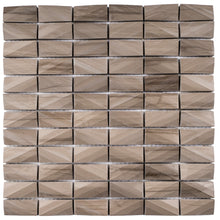 T3DCTG-04 Brown 3D Cut 1x2 Marble Mosaic Tile