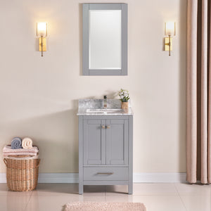 "1901-24-03 Light Grey 24"" Bathroom Vanity Cabinet and Sink Combo Solid Wood Cabinet+Real Marble Top+ Marble backsplash w/Sink Mirror set"