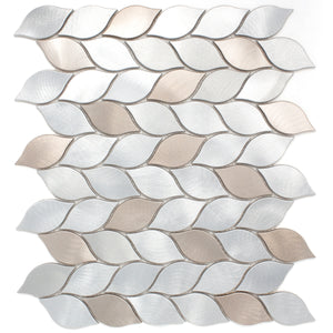 Aluminum silver and bronze leaf metal mosaic tile backsplash wall tile