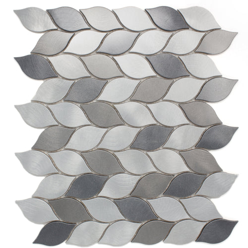 TAFDG-07 Aluminum silver and grey leaf metal mosaic tile