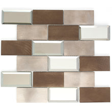 2x4 Subway Tile Bronze Aluminum Mix Mirror Glass Mosaic Tile backsplash wall tile