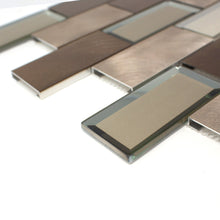 TAFMG-01 2x4 Subway Tile Bronze Almiunum Mix Mirror Glass Mosaic Tile