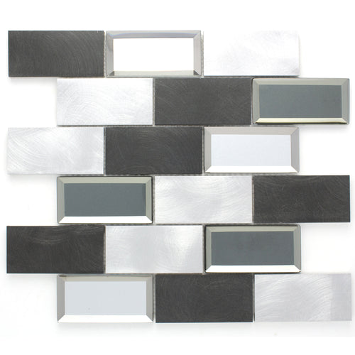 TAFMG-02 2x4 Subway Tile Grey Almiunum Mix Mirror Glass Mosaic Tile