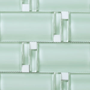 TBAMG-01 Soft Mint Green 3D Over Size Glass Mosaic Tile