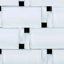 TBAMG-02 White and Black 3D Over Size Glass Mosaic Tile