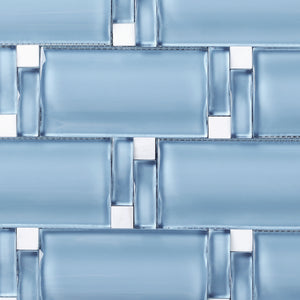TBAMG-03 Blue 3D Over Size Glass Mosaic Tile
