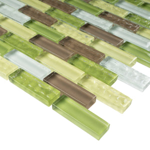 TBCDG-02 Small Random Brick Mix Green Glass Mosaic Tile
