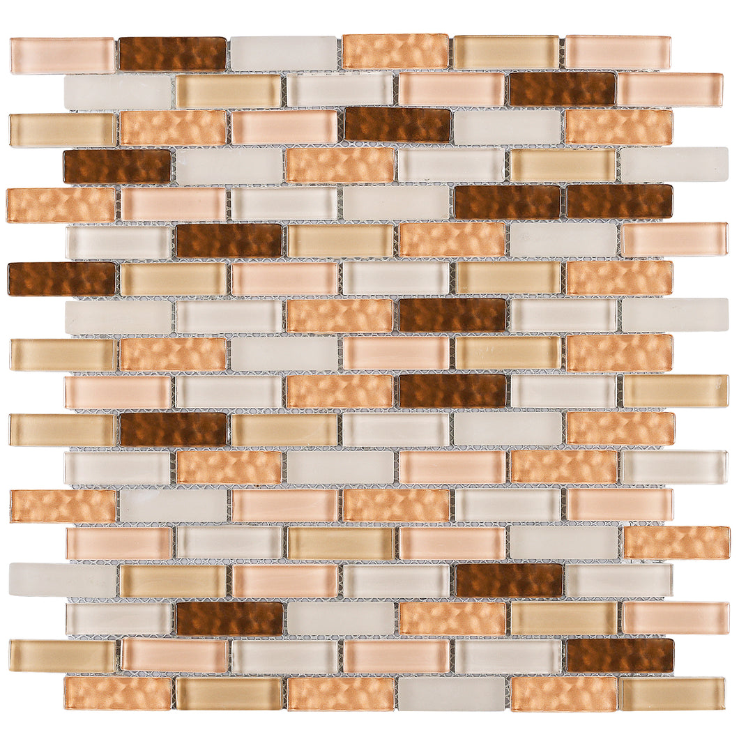 TBCDG-03 Small Random Brick Mix Beige/Brown Glass Mosaic Tile