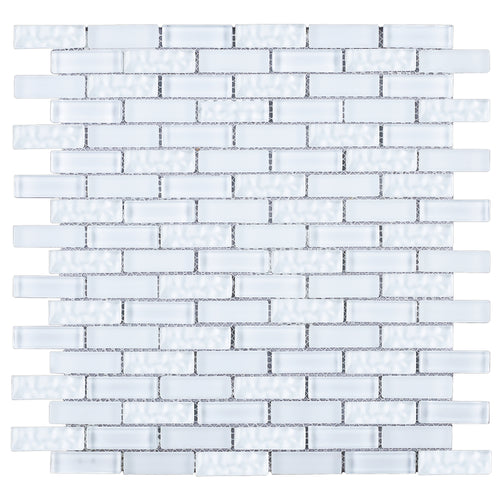 TBCDG-04 Small Random Brick White Glass Mosaic Tile
