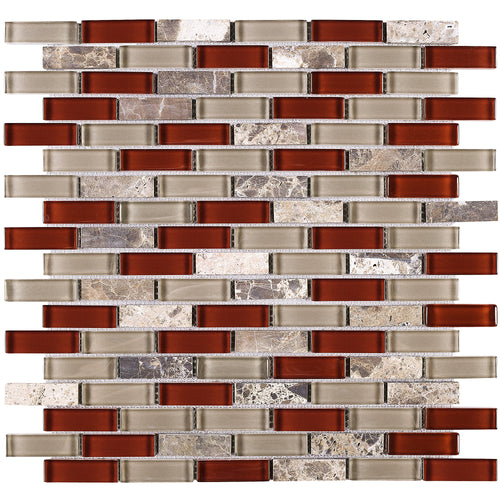 TBCDG-06 Burgundy Red Mix Gray Brick Glass Mosaic Tile