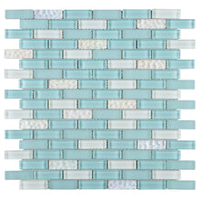 TBCDG-07 Small Random Brick Blue/White Glass Mosaic Tile
