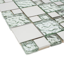 TBSSG-01 Modern Cobble Stainless Steel With Silver Glass Mosaic Tile