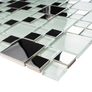 TBSSG-02 Modern Cobble Stainless Steel With White Glass Mosaic Tile