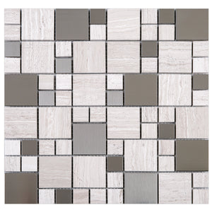 TBSSG-03 Random Square Stainless Steel With Wooden Brown Marble Mosaic Tile