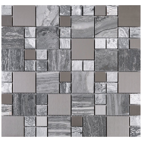 TBSSG-04 Random Square Stainless Steel With Cloudy Grey Marble Mosaic Tile
