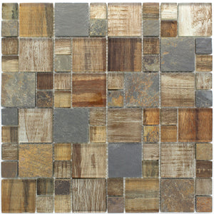 TBSSG-05 Random Size Brown Wood Look Glass and Stone Mosaic Tile