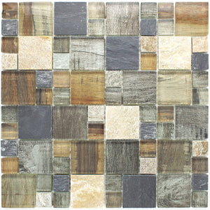 TBSSG-06 Random Square Grey Brown Wood Look Glass and Stone Mosaic Tile